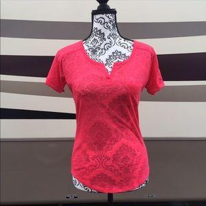Express Pink Pocket Vneck Tee Shirt Sheer XS